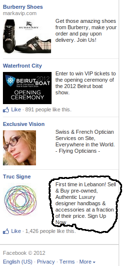 A harmful advertisement on facebook